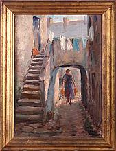 Paul Ashbrook (1867-1949) The Stairway, Oil on board,
