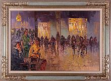 Dozeina (b. 1923) Interior Scene with Figures, Oil on canvas,
