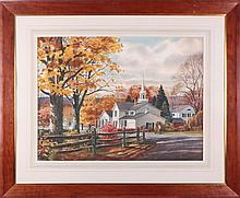 Kinley T. Shogren (1924-1991) Gates Mills, Watercolor on paper,