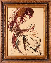 Edna Glaubman (1919-1986) Seated Female, Acrylic on paper,