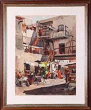 Artist Unknown (20th Century) Tenement Scene, Watercolor on paper,
