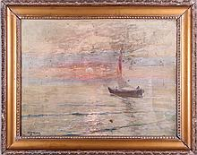 Dimitrie Florian (1899-1979) Sailing at Sunset, Oil on canvas,