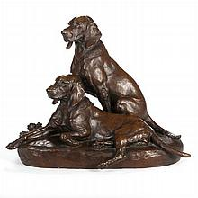 Jules Edmond Masson (French, 1871-1932) Two Hunting Dogs, Bronze,