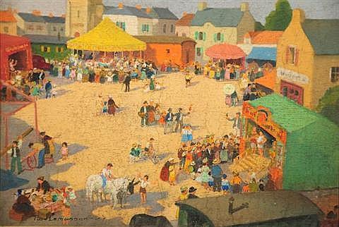 Jean Paul Lemasson (b. 1954) Village Scene, Oil on Board,