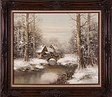 F. Wagner (20th Century) Winter River Scene, Oil on canvas,