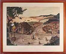 Marilln Ayster (20th Century) Farm Scene, Watercolor and gouache on paper,