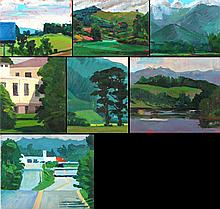 Mark David Gottsegen (1948-2013) Seven Works Depicting Landscapes, Acrylic on board, paper, and canvas,