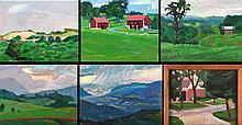 Mark David Gottsegen (1948-2013) Six Works Depicting Landscapes, Acrylic on board, one on canvas,