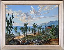G. Gomez R. (20th Century) Tropical Coastal Scene, Oil on canvas laid on board,