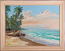 G. Gomez R. (20th Century) Seascape, Oil on canvas laid on board,