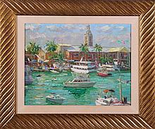 Igor Korotash (1957) Tropical Coastal Harbor Scene, Oil on canvas,