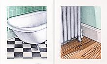 Gerald Kramer (20th Century) Radiator #2 and Close-up Bathtub with Claw, Mixed media on board,