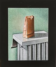 Gerry Kramer (20th Century) Radiator with Bag, Mixed media on board,