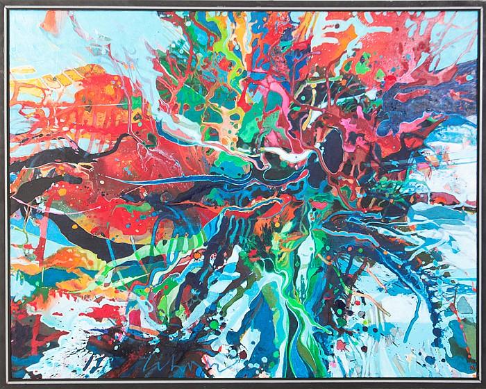 Thompson Lehnert (b. 1931) Hurricane Sandy, Acrylic polymer on canvas,