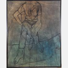 TONY WOODS (1940-2017) SEATED WOMAN, OIL ON CANVAS,
