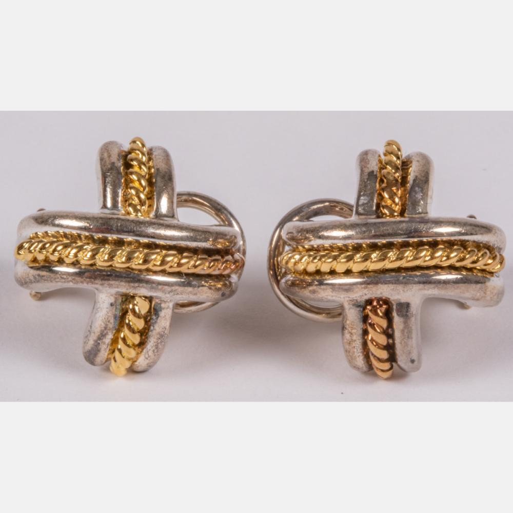 Tiffany & Co. Sterling Silver and 18kt Yellow Gold Earrings