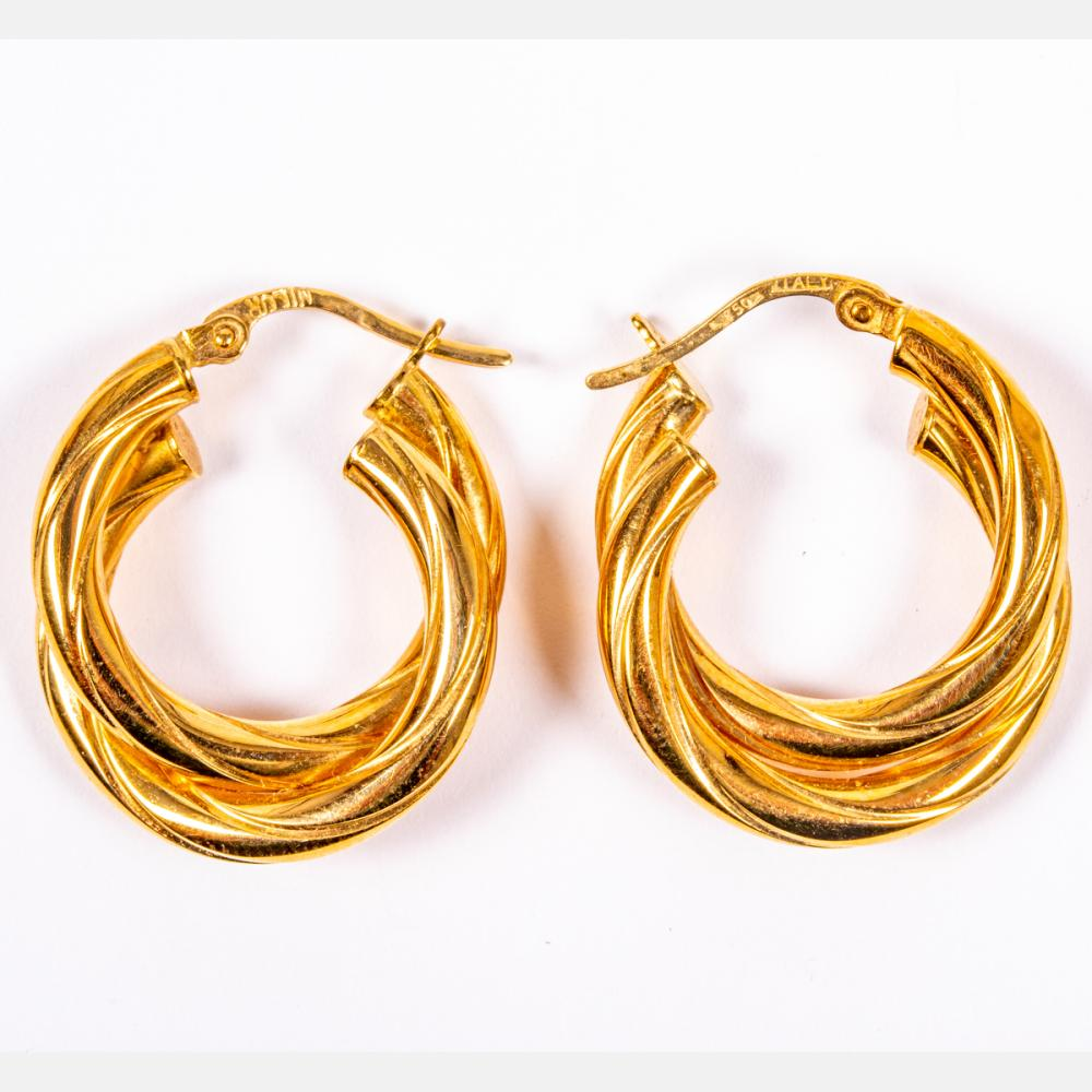 Pair of 18kt Yellow and Gold Hollow Twist Hoop Earrings