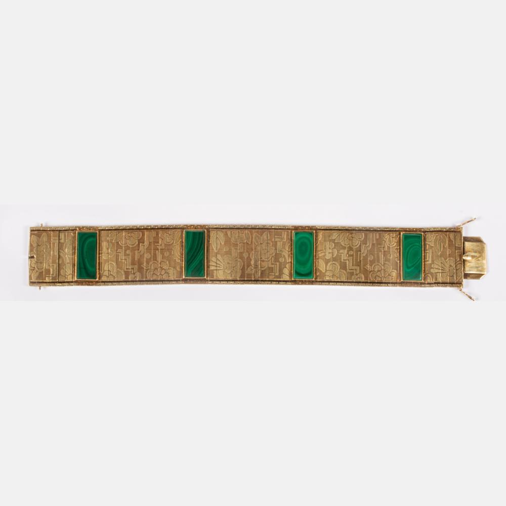 A German 14kt Yellow Gold and Malachite Art Deco Bracelet,