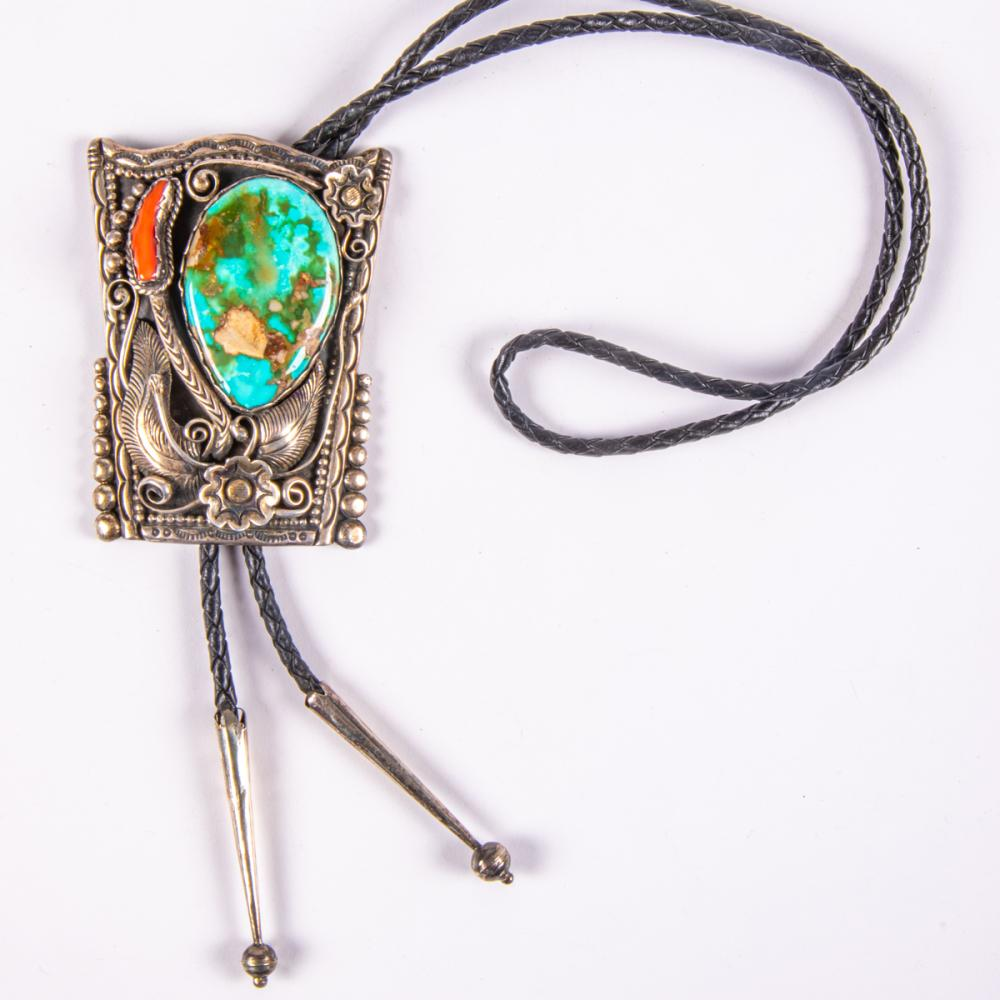 T. Dinetso (Navajo, 20th Century), Silver, Turquoise and Coral Bolo Tie