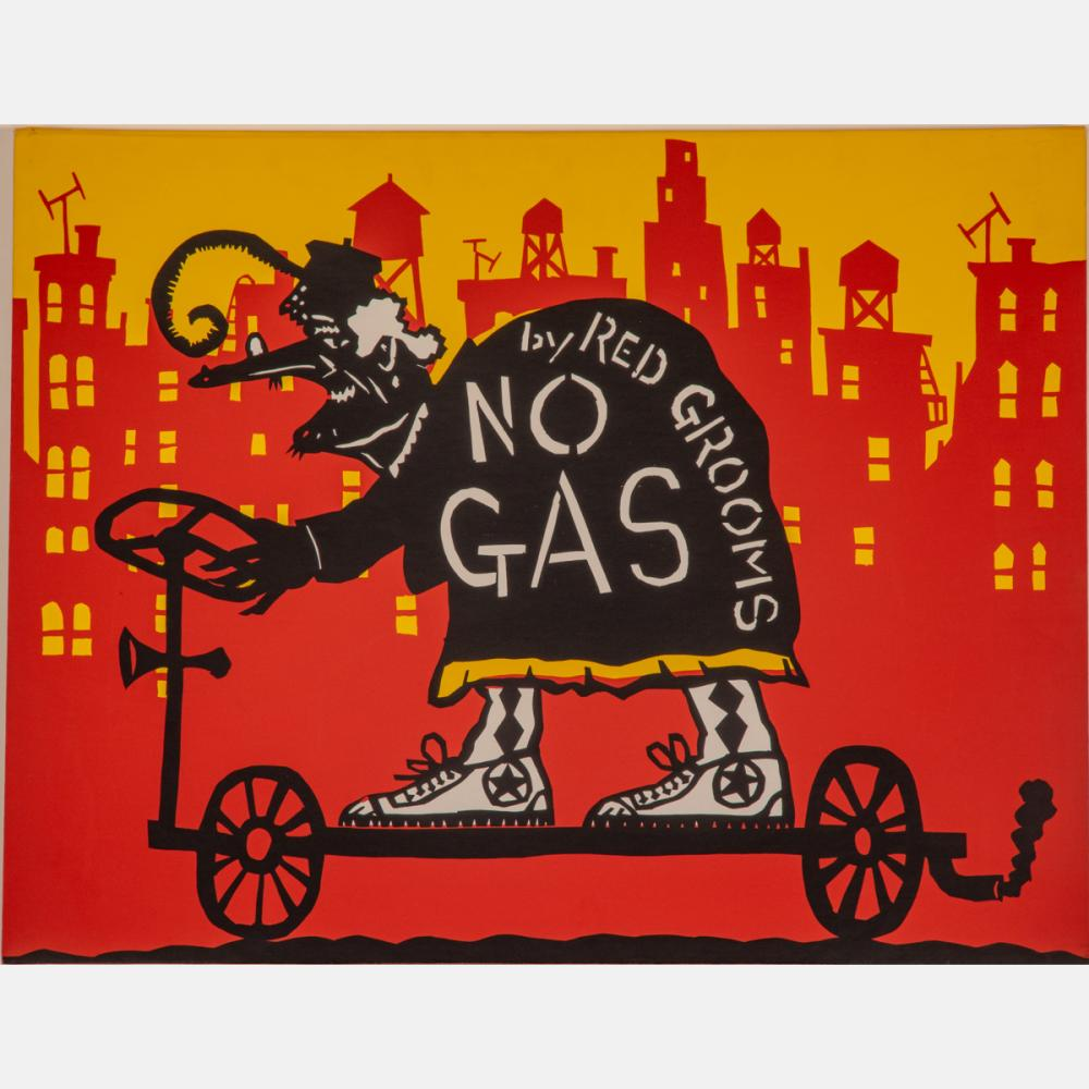 Red Grooms (b. 1937) No Gas, Cover Only Silkscreen