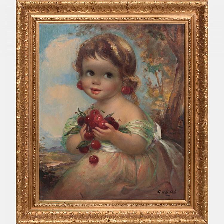 Rufino Ceballos (1907-1970) Portrait of a Child, Oil on canvas,