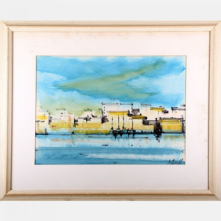 Stephane Le Grec (1924-1995) Coastal Scene, Watercolor on paper,