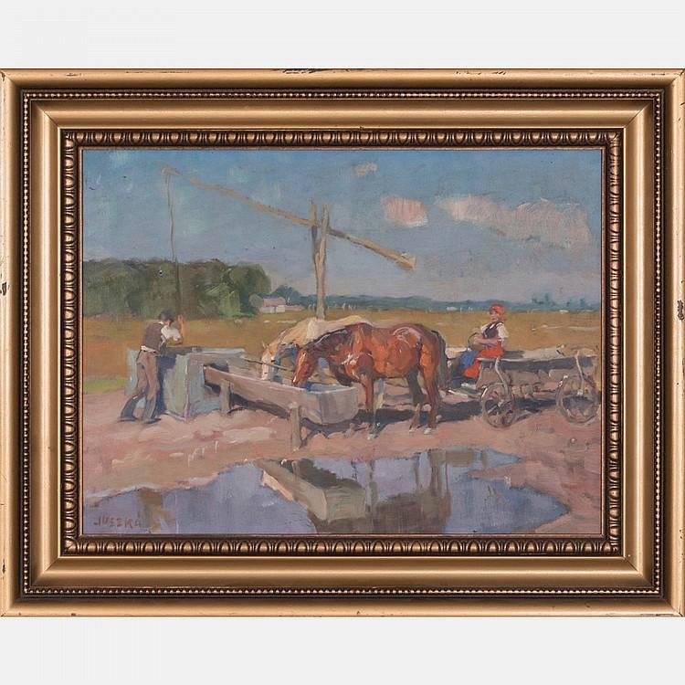 Bela Juszko (Hungarian, 1877-1969) Farm Scene, Oil on board,