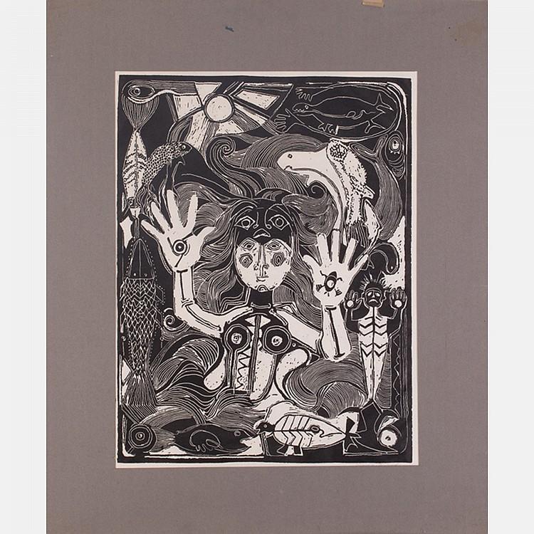 Ginna Brand (b. 1929) Untitled, Woodblock,