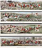 A Group of Four Hand-Colored English Fox Hunting Etchings by H. Alken, 19th Century.