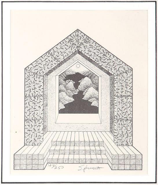 Gary Spinosa (20th Century) Homeland Gateway ca. 1972, Etching,
