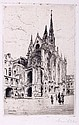 F. Gremillet (20th Century) Cathedral Scene, Engraving,