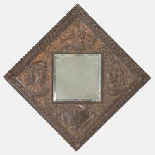 A Copper and Copper Plated Hanging Mirror from the World's Fair Columbian Exposition, Chicago, 1893,