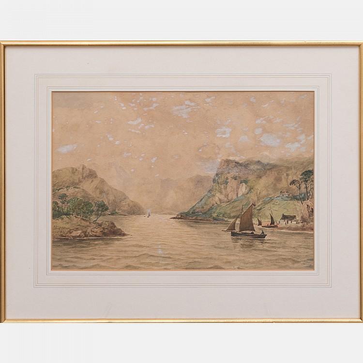 Robert Cooper (19th Century) The Sound of Scalpa, Isle of Skye, Scotland, Watercolor,