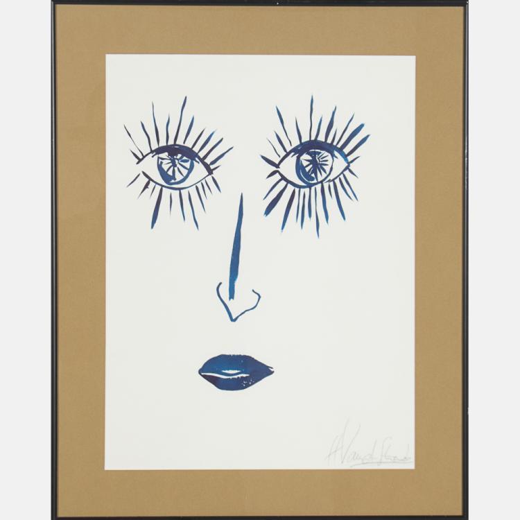 Hervé van der Straeten (b. 1965) Face,  Gouache on paper,
