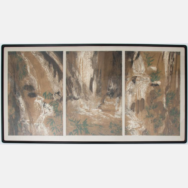 Martin Green (20th Century) Japanese Style Landscape, Woodblock triptych,