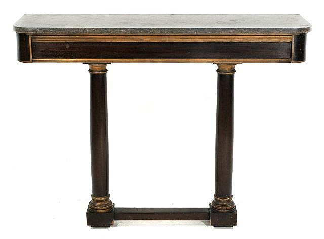 An Empire Style Marble Topped Mahogany Console Table, 19th Century.