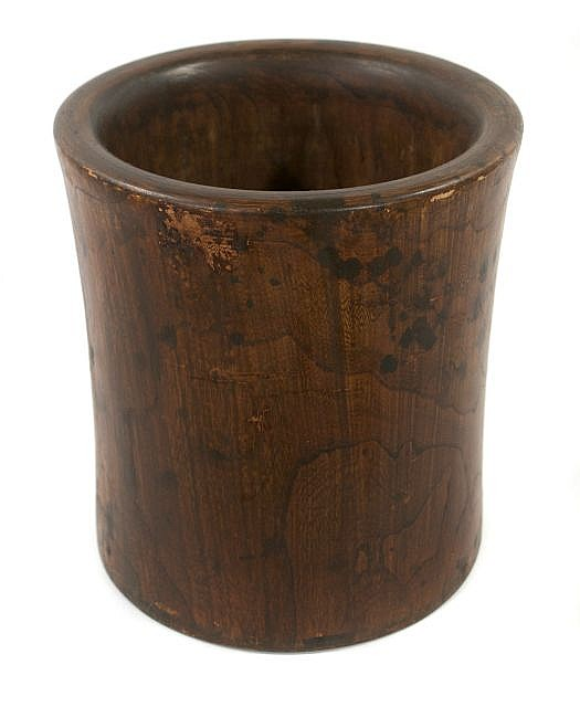 A Large Huanghuali Cylindrical Brush Pot, Qing Dynasty, 19th / Early 20th Century.