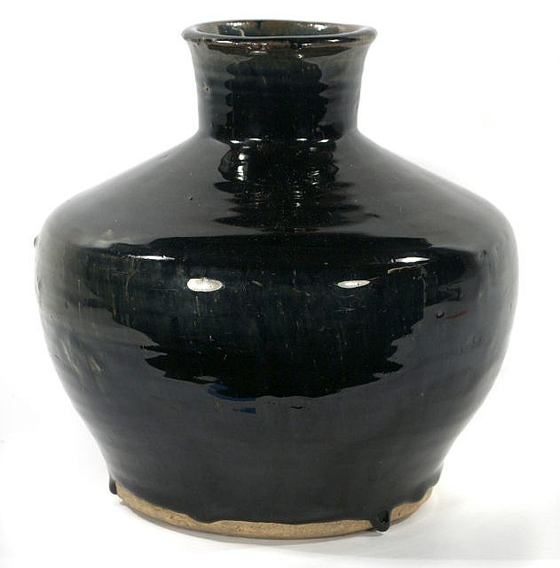 A Chinese Henan Ware Style Black Glazed Pottery Jar.