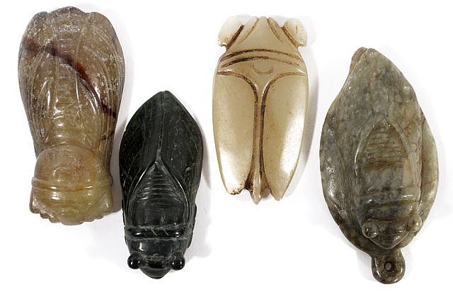A Group of Four Chinese Carved Jade and Hard Stone Insect Figures Depicting Cicadas.