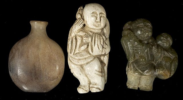 A Group of Three Chinese Carved Jade and Hard Stone Human Figures and a Snuff Bottle.