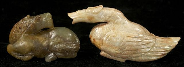 Two Chinese Carved Jade and Hard Stone Figures Depicting a Horse and a Goose.
