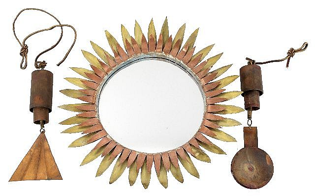 A Pair of Copper Wind Chimes and a Copper Mirror with Sunflower Design by Thomas A. Herr, American, 20th Century.