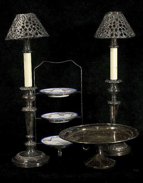 A Collection of English Silver Plated and Porcelain Serving and Decorative Items.