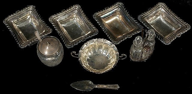 A Miscellaneous Collection of Sterling Silver, Silver Plate, and Glass Serving Items.