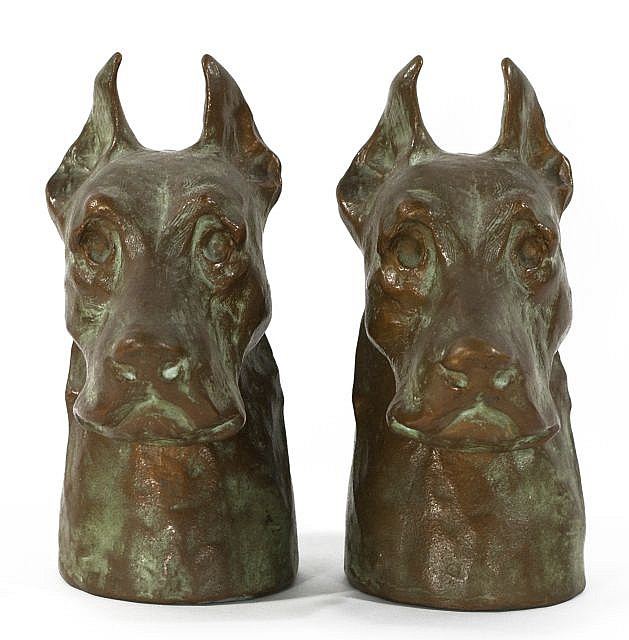 A Pair of McClelland Barclay Cast Copper Plated Metal Great Dane Bookends, 20th Century.
