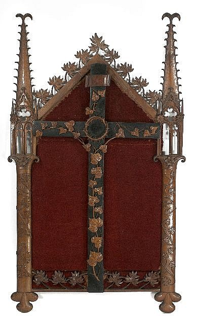 A French Carved Walnut Altarpiece Panel with Ebonized Cross, 19th Century.
