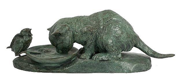 Emmanuel Fremiet (1824-1910) Cat and Bird, Bronze with green patina,
