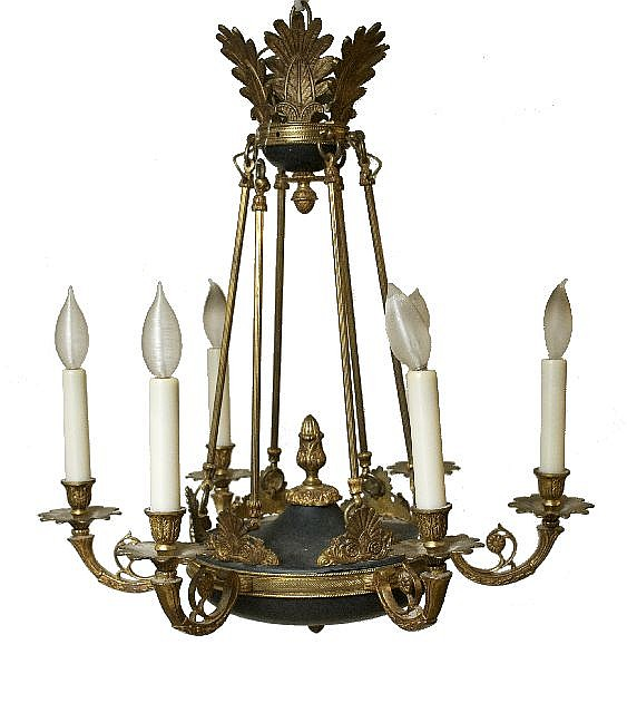 An Empire Style Brass Chandelier, 20th Century.