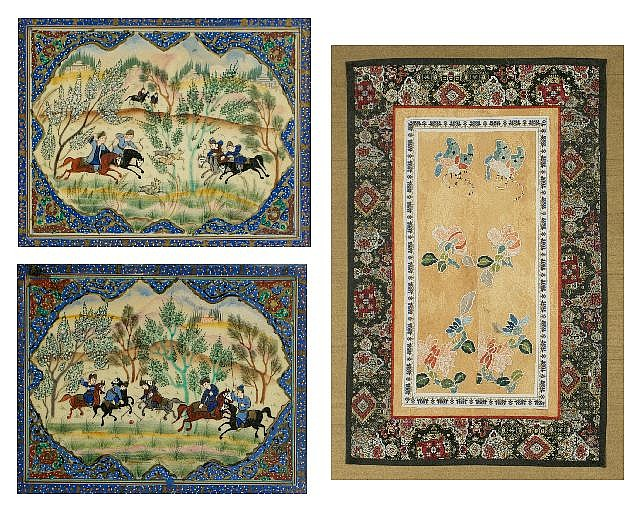 A Group of Three Works Comprising of Two Persian Oil Paintings and A Woven Silk Tapestry, 20th Century.