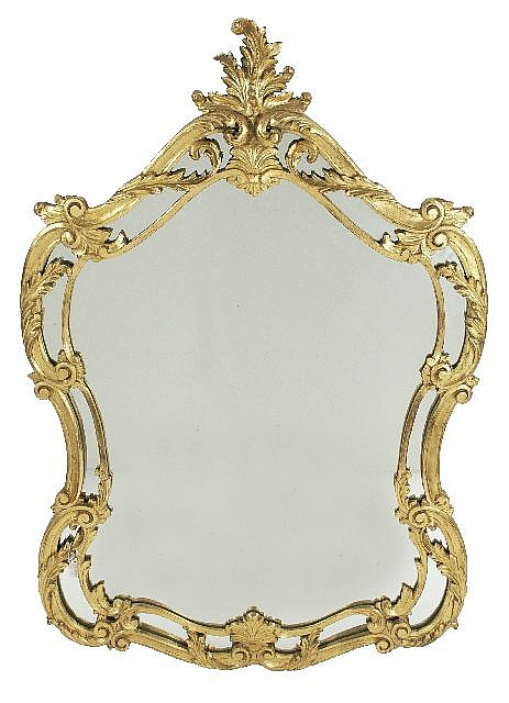 A Louis XV Style Gilt Carved Wood Mirror, 20th Century.